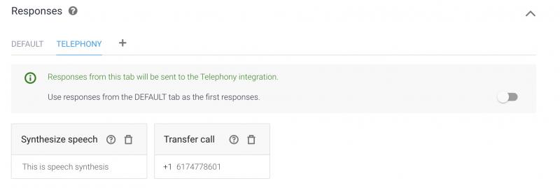 Dialogflow Telephony Tab